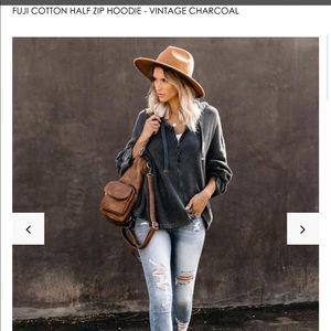Vici Tops - Charcoal Hoodie